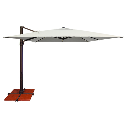 Bali Pro 10 Foot Sunbrella Natural Square Umbrella with Starlight Feature and Cross Base Stand