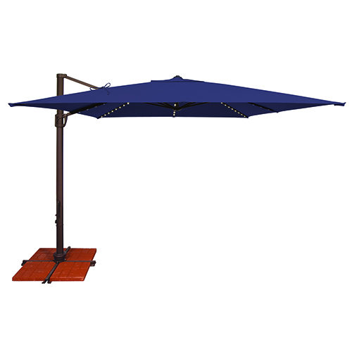 Bali Pro 10 Foot Sunbrella Navy Blue Square Umbrella with Starlight Feature and Cross Base Stand