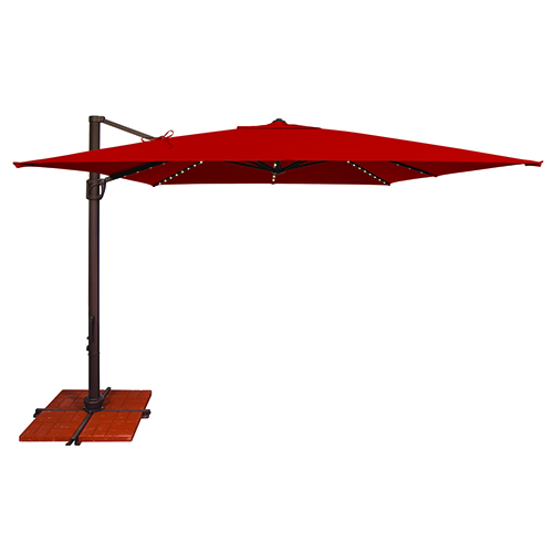 SimplyShade Bali Pro 10 Foot Sunbrella Jockey Red Square Umbrella with Starlight Feature and Cross Base Stand