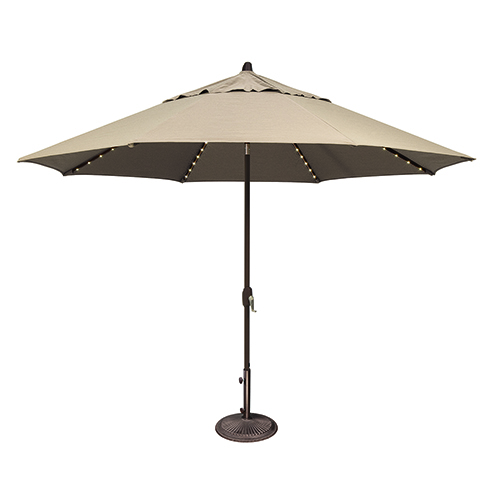 Lanai Pro 11 Foot Sumbrella Antique Beige Octagon Auto Tilt with Starlight Feature