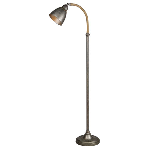Forty West Owen Aged Metal and Jute One-Light Floor Lamp