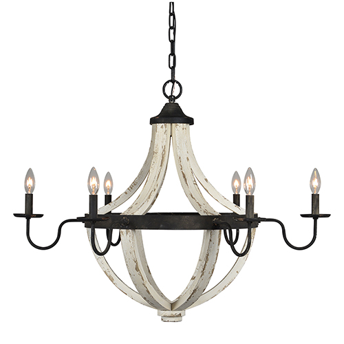 Rice Rustic Black and Cottage White Chandelier