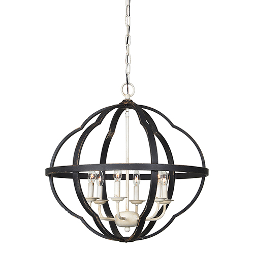 Leo Rustic Black and Cottage White Chandelier