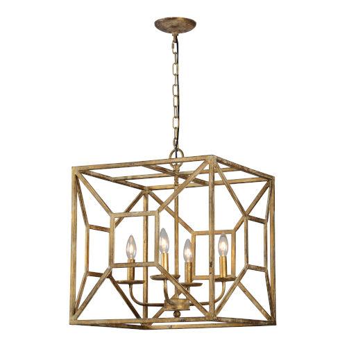 Antique Gold 23-Inch Four-Light Pendant