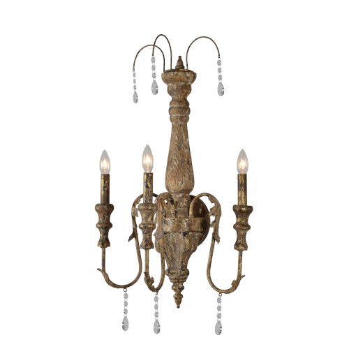 Chipped Gold 17-Inch Three-Light Plug-In Wall Sconce