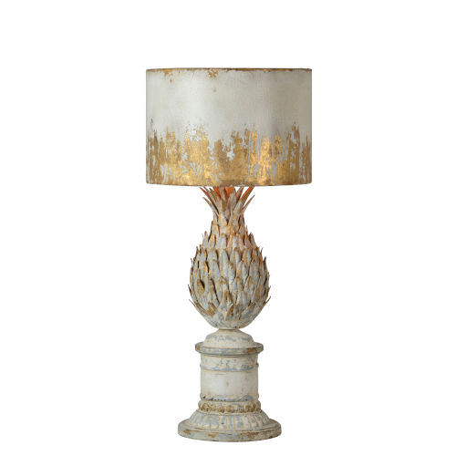 Antique White and Gold 30-Inch One-Light Table Lamp