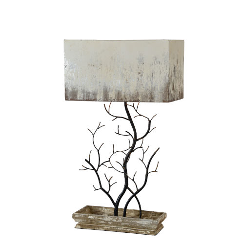 Weathered Wood and Black 33-Inch One-Light Table Lamp