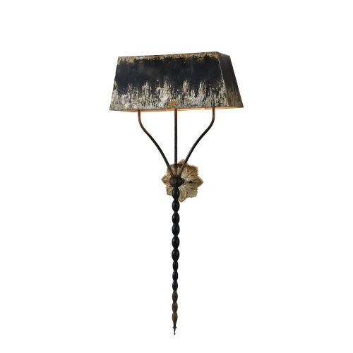Antique Black and Silver 22-Inch Three-Light Plug-In Wall Sconce