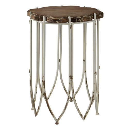 Distressed Cottage White 21-Inch End Table