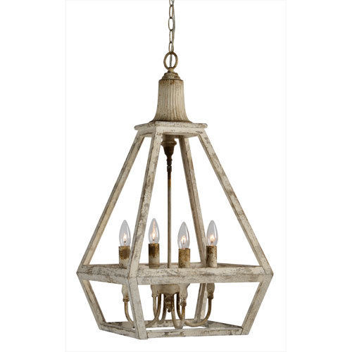 Warner Weathered White Four-Light Pendant