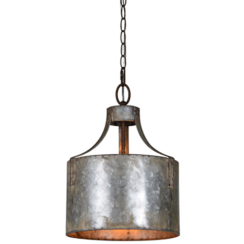 Nala Galvanized 16-Inch One-Light Pendant
