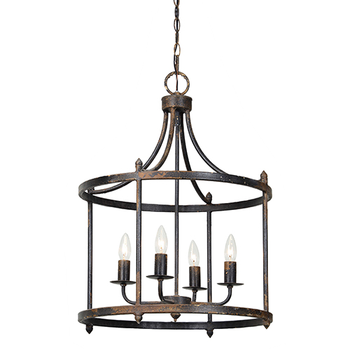 Forty West Arlington Rustic Black 28-Inch Four-Light Chandelier