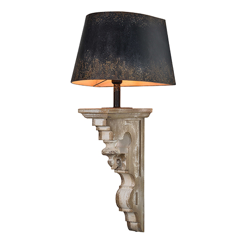 Forty West Peyton Whitewash Wood and Rustic Black Metal Shade 38-Inch One-Light Sconce