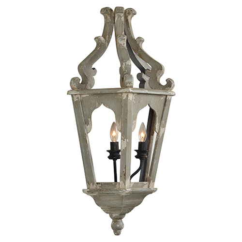 Julia Weathered Gray and White Plug-In Sconce