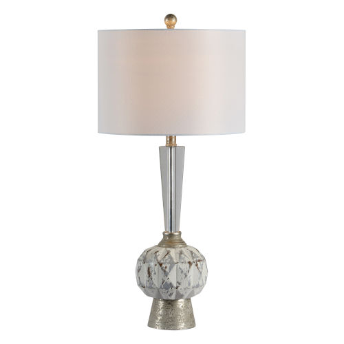 Dusky Silver and White One-Light 30-Inch Table Lamp