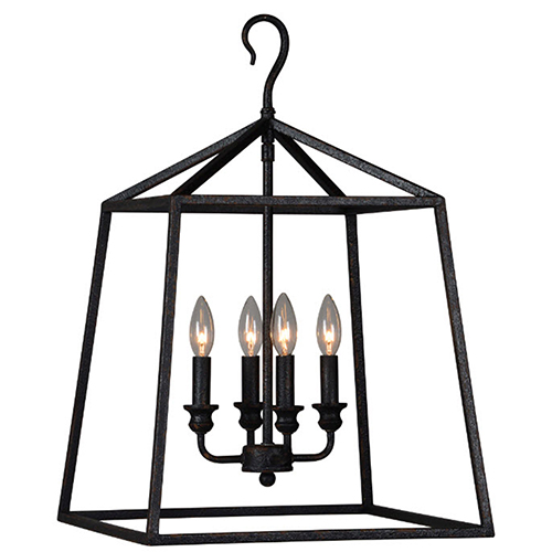 Darby Rustic Black 25-Inch Four-Light Pendant