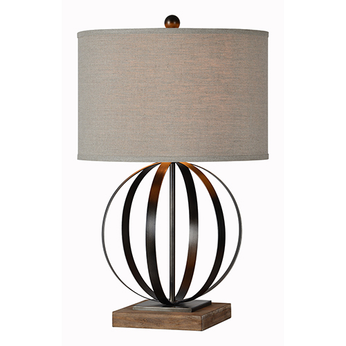 Currey Driftwood and Natural Metal Table Lamp