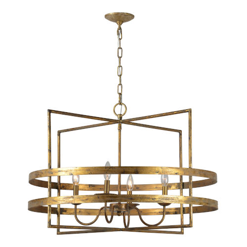 Antique Gold 31-Inch Four-Light Chandelier