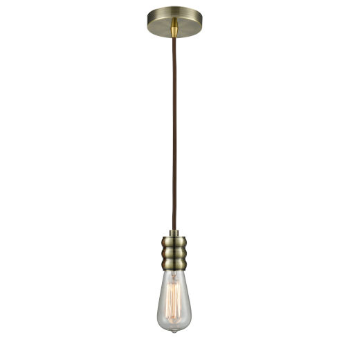 Gatsby Antique Brass One-Light Mini Pendant with Brown Cord