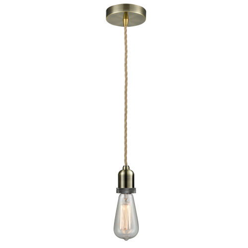 Whitney Antique Brass Two-Inch One-Light Mini Pendant with Rope Cord