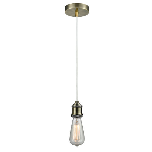 Edison Antique Brass Two-Inch One-Light Mini Pendant with White Cord