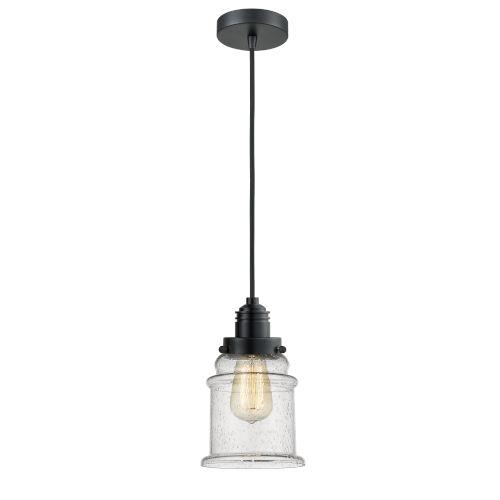 Winchester Matte Black Eight-Inch One-Light Mini Pendant with Black Cord