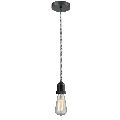 Whitney Matte Black Two-Inch One-Light Mini Pendant with Zebra Cord