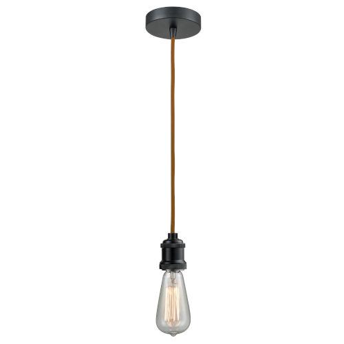 Edison Matte Black Two-Inch One-Light Mini Pendant with Copper Cord