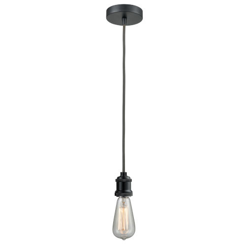 Edison Matte Black Two-Inch One-Light Mini Pendant with Gray Cord