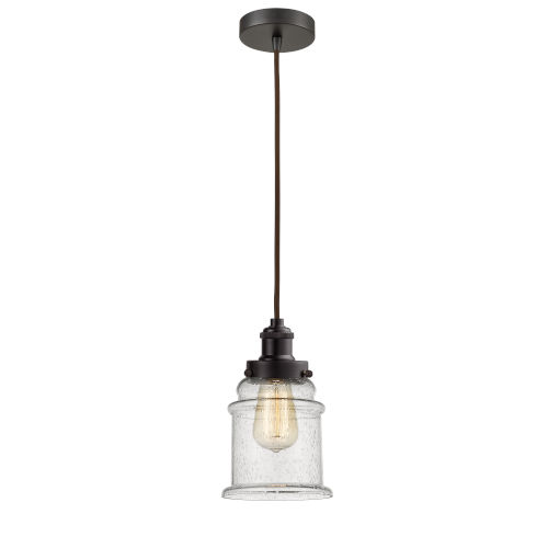 Edison Oil Rubbed Bronze Eight-Inch One-Light Mini Pendant with Brown Cord