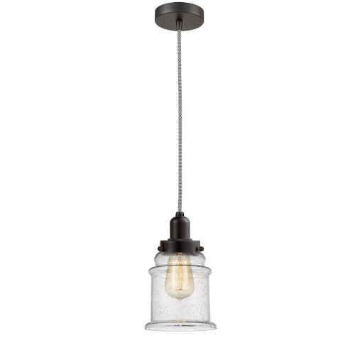 Whitney Oil Rubbed Bronze Eight-Inch One-Light Mini Pendant with Zebra Cord