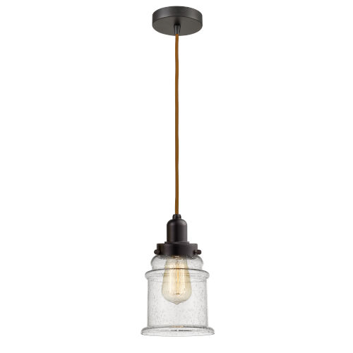 Whitney Oil Rubbed Bronze Eight-Inch One-Light Mini Pendant with Copper Cord