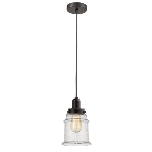 Whitney Oil Rubbed Bronze Eight-Inch One-Light Mini Pendant with Gray Cord