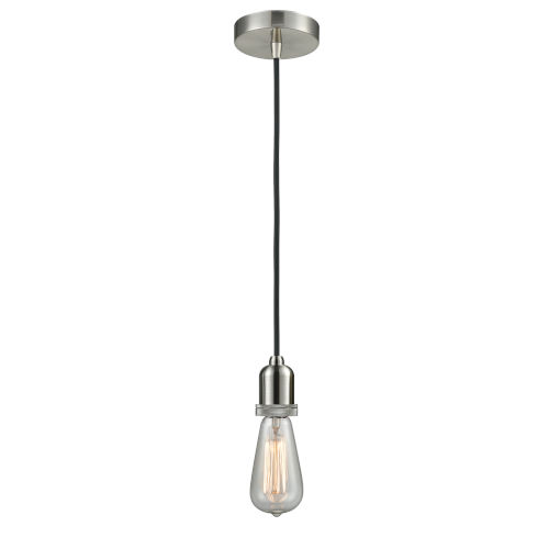 Whitney Satin Nickel Two-Inch One-Light Mini Pendant with Black Cord