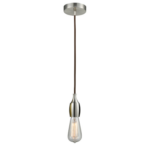 Chelsea Satin Nickel One-Light Mini Pendant with Brown Cord