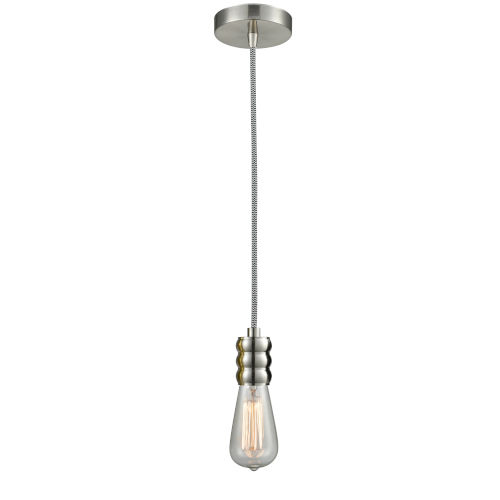 Gatsby Satin Nickel One-Light Mini Pendant with Zebra Cord