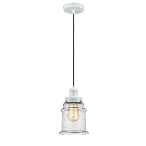 Edison White Eight-Inch One-Light Mini Pendant with Black Cord