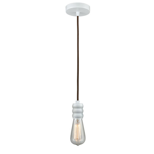 Gatsby White One-Light Mini Pendant with Brown Cord