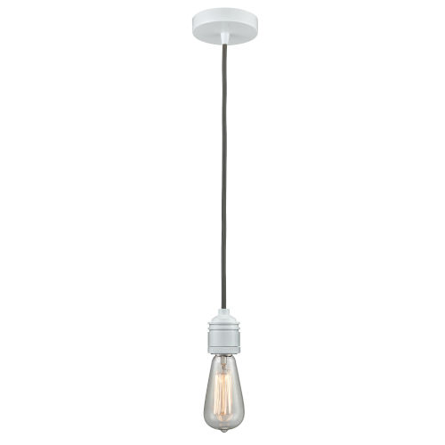 Winchester White Two-Inch One-Light Mini Pendant with Gray Cord