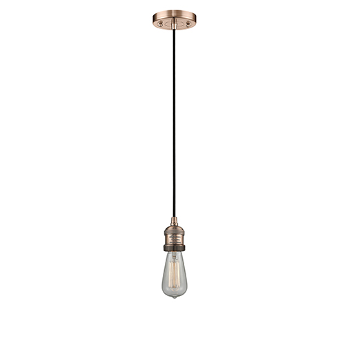 Bare Bulb Antique Copper Two-Inch One-Light Mini Pendant with Black Cord