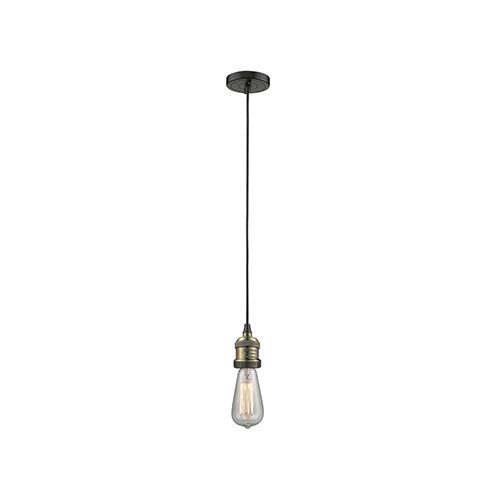 Innovations Lighting Bare Bulb Black Brushed Brass Two-Inch LED Mini Pendant with Black Cord