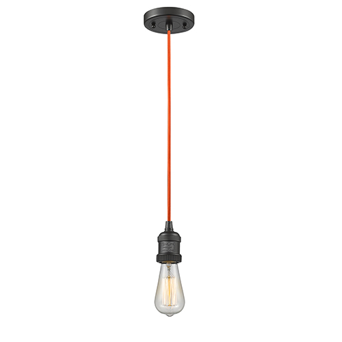 Innovations Lighting Bare Bulb Oiled Rubbed Bronze Two-Inch One-Light Mini Pendant with Orange Cord