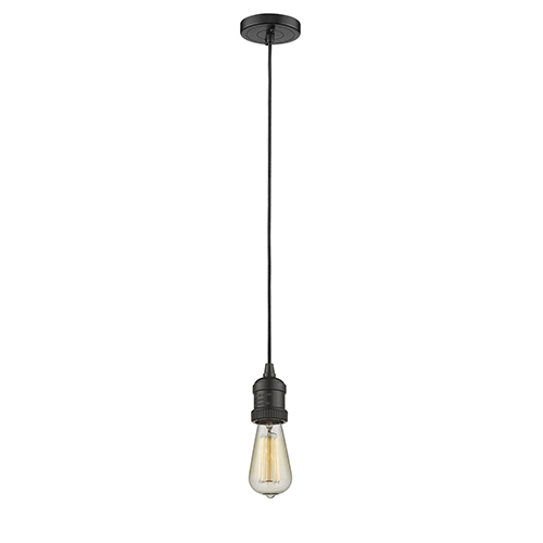 Bare Bulb Oiled Rubbed Bronze Two-Inch One-Light Mini Pendant with Black Cord