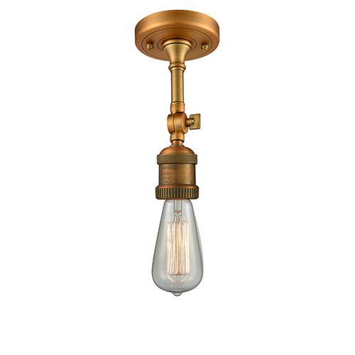Innovations Lighting Bare Bulb Brushed Brass Eight-Inch One-Light Semi Flush Mount