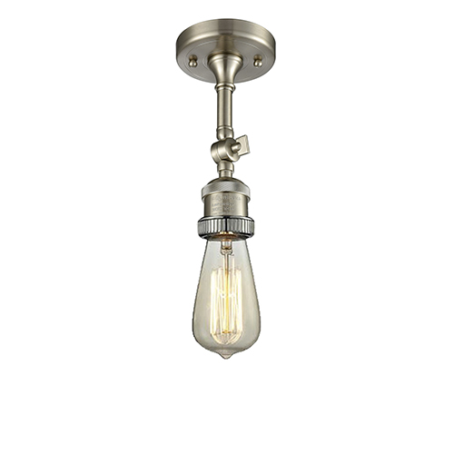 Innovations Lighting Bare Bulb Brushed Satin Nickel Eight-Inch One-Light Semi Flush Mount