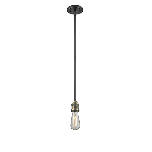 Bare Bulb Black Antique Brass Two-Inch LED Mini Pendant