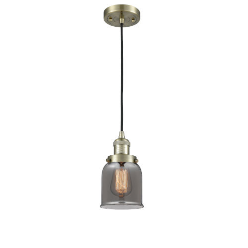 Small Bell Antique Brass One-Light Mini Pendant with Smoked Glass