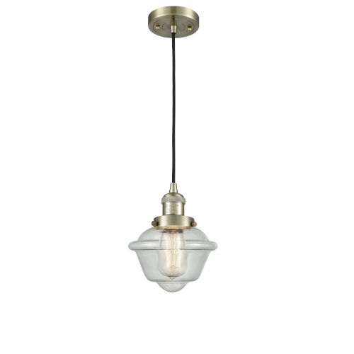 Small Oxford Antique Brass One-Light Mini Pendant with Seedy Glass
