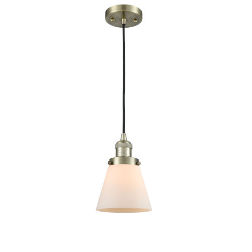 Small Cone Antique Brass 3.5W LED Mini Pendant with Matte White Cased Glass