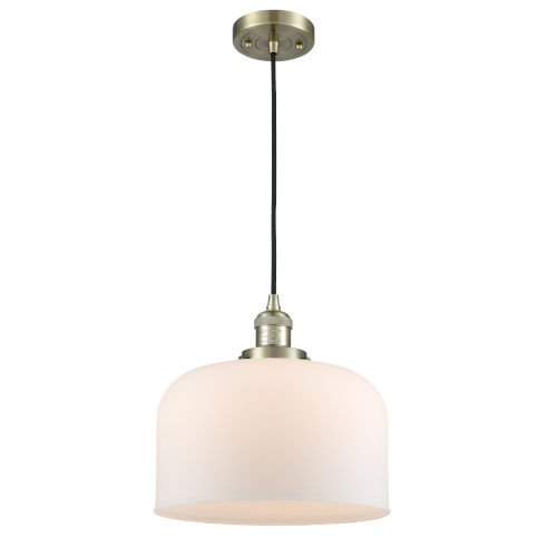 X-Large Bell Antique Brass 3.5W LED Pendant with Matte White Cased Glass